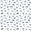 Seamless backdrop, transport icons, wallpaper — Stock Vector #13184216
