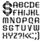 Font from a paper transparent tape - Alphabet letters — Stok Vektör