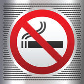 No smoking symbol on a chromium background — Stock Vector