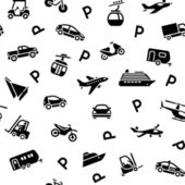 Seamless backdrop transport icons, wrapping paper — Stock Vector