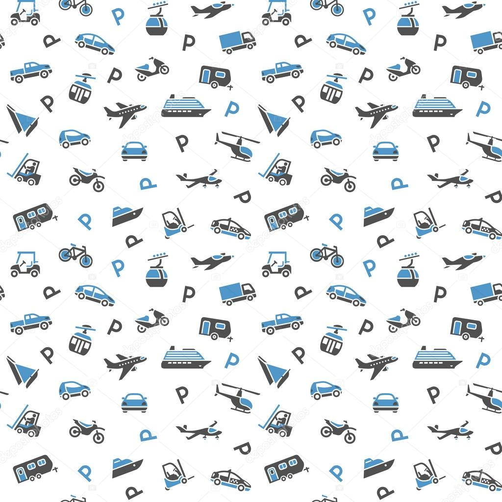 Seamless Backdrop, Transport Icons, Wallpaper