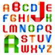 Font folded from colored paper -  Roman alphabet - Stock Vector