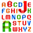 Font folded from colored paper - Roman alphabet — Stock Vector #13418537