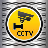 CCTV symbol on a chromium background — Stock Vector