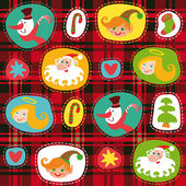 Christmas set, plaid tartan pattern background, wrapping paper — Stock Vector