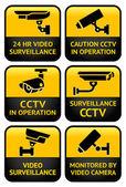 Bezpečnostní kamera znamení sada — Stock vektor