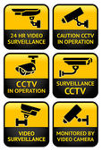 Security camera sign set — Stockvector