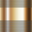 Golden background perforated sheet — Stock Vector