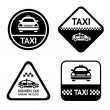 Taxi cab set black buttons — Stock Vector