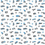 Seamless background, transport icons, wallpaper. 10eps — Stockvektor