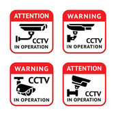 Video surveillance signs set — Stock Vector