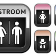 Stock Vector: Restroom symbol, metallic button