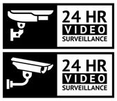 Video surveillance stickers — Stock Vector