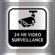 Stock Vector: Video surveillance symbol on metallic chromium background