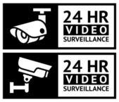 комплект видеонаблюдения наклейки — Cтоковый вектор