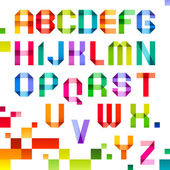 Espectrais letras dobradas da cor da fita de papel — Vetorial Stock