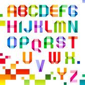 Spektral bokstäver vikta papper band färg — Stockvektor