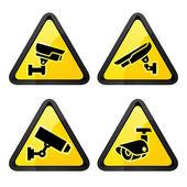 CCTV triangular labels, set symbol video surveillance — Stock Vector
