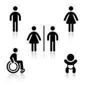 Toilet black set pictograms — Vector de stock