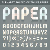 Alphabet folded of toilet paper — Vector de stock