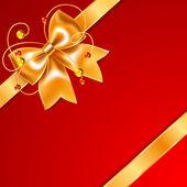 золотой лук шелковой лентой, изолированные на красном фоне — Cтоковый вектор