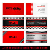 Business cards red race - first set — Stock Vector