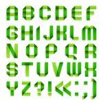 Alphabet folded paper - Green letters. — Stock Vector