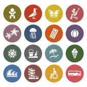 Vacation, Travel & Recreation, icons set — Stok Vektör