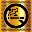 No smoking symbol on a gold backdrop — Stock Vector
