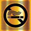 No smoking symbol on a gold background — Stock Vector