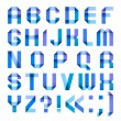 Spectral letters folded of paper ribbon-blue — Stock vektor
