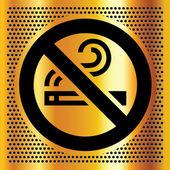 Ningún símbolo de fumar en un telón de fondo bronce — Vector de stock