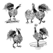 Roosters and a Hen black and white — Stock Vector