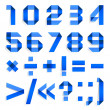 Font folded from colored paper - Arabic numerals — Vector de stock