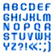 Alphabet folded of colored paper - Blue letters — Stock vektor