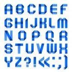 alfabeto doblado de papel de colores - letras azules — Vector de stock