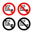 Signs set - No smoking — Stock Vector