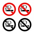 Set signs - No smoking — Stock Vector