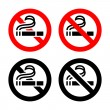 No smoking, symbols — Stock Vector