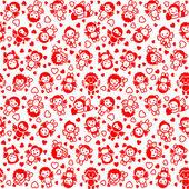 Festliche hintergrund, verpackung papier, rote symbole — Stockvektor