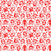 Festlig bakgrund, förpackning papper, röda ikoner — Stockvektor