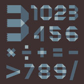 Font from bluish scotch tape - Arabic numerals — Stockvector