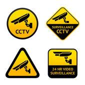Video surveillance, set symbols — Stock Vector
