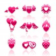 Heart collection, Love icons — Vector de stock