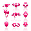 Heart collection, Love icons — Stockvektor