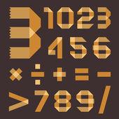 Font da giallastro scotch tape - numeri arabi — Vettoriale Stock