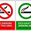 No smoking and Smoking area labels - Set 4 — Stock Vector