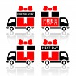 Set of truck red icons - free delivery - Stock Vector