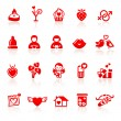 Set valentine's day red icons with hearts — Stock Vector