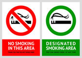 No smoking and Smoking area labels - Set 2 — Stock Vector